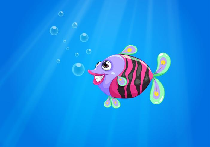 A colorful fish smiling under the sea