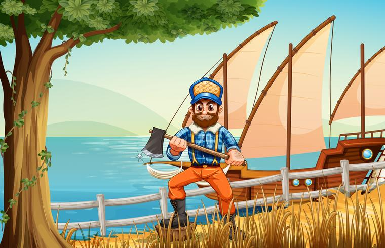 Um lenhador na floresta perto do mar com um navio