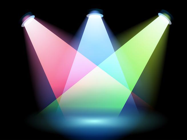 Drie kleurrijke schijnwerpers