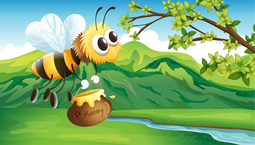 Een bij die een honing brengt