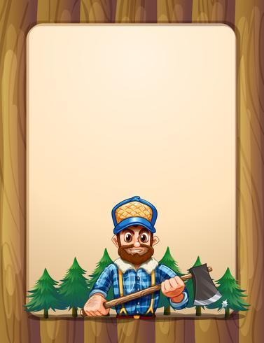 Eine leere Holzrahmengrenze mit einem Holzfäller vor den Kiefern