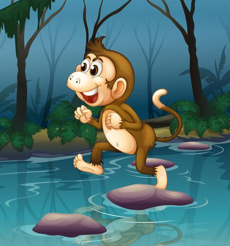 A monkey smiling while crossing the river