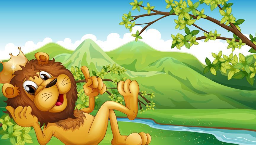 Un re leone attraverso il fiume