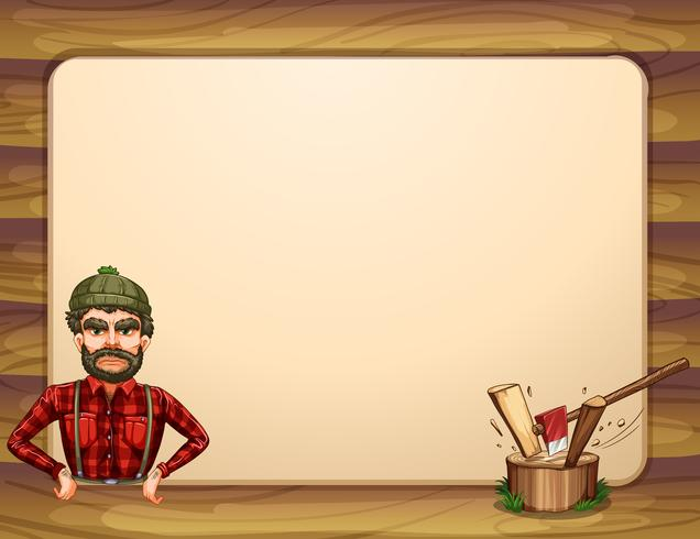 An empty wooden frame template with a lumberjack