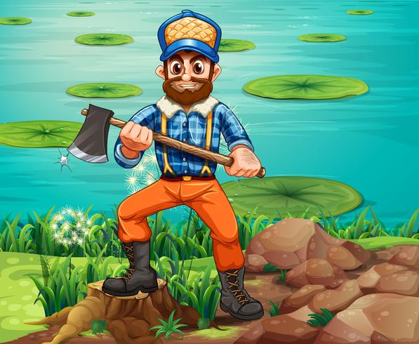 A lumberjack holding an axe at the riverbank