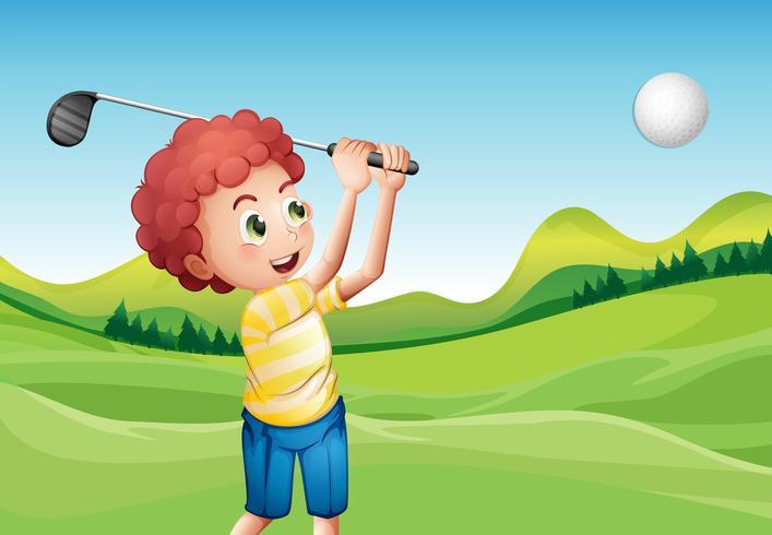 Jongen golfen vector