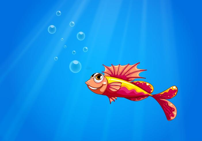 Un pez feo bajo el agua.