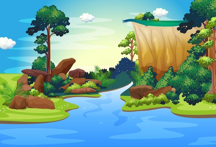 Un bosque con un río profundo.