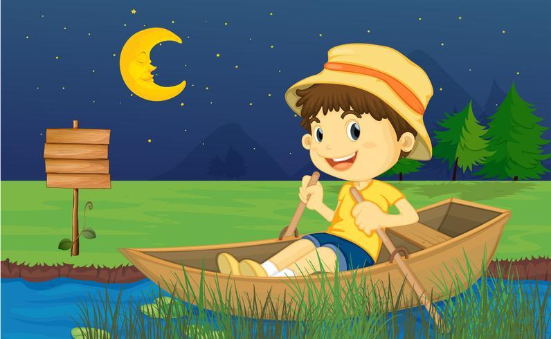 Un garçon dans un bateau