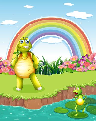 Une tortue et une grenouille à l'étang avec un arc-en-ciel dans le ciel