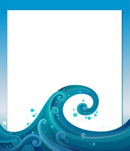 En tom mall med blåa vågor