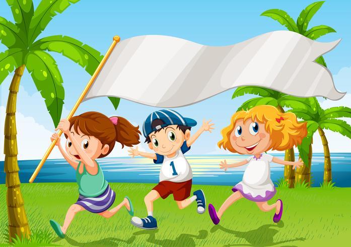Kinderen lopen met een lege banner