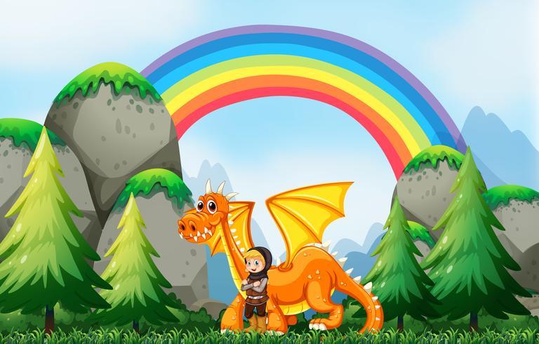 Caballero y dragon vector