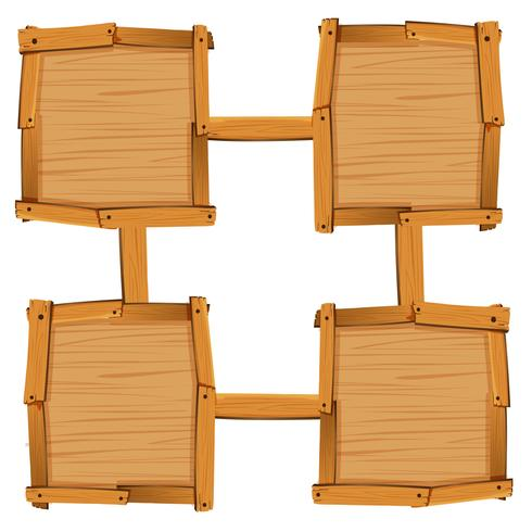 Four wooden square as board templates
