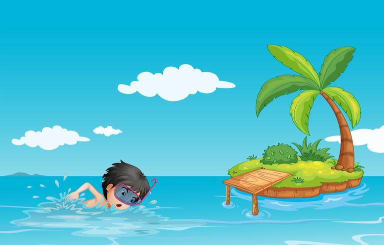 Een jonge heer die dichtbij een klein eiland zwemt