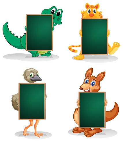 Quatro animais na parte de trás dos quadros vazios