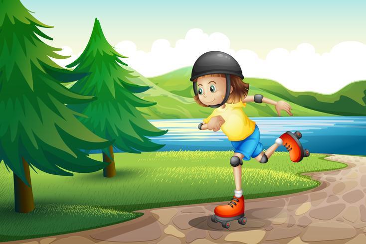 Een jong meisje rolschaatsen aan de rivieroever met pijnbomen