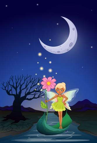 A fairy holding a flower riding on a boat in the middle of the night