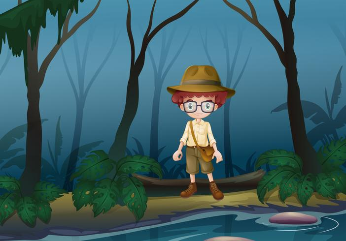 A boy scount in the forest near the lake vector