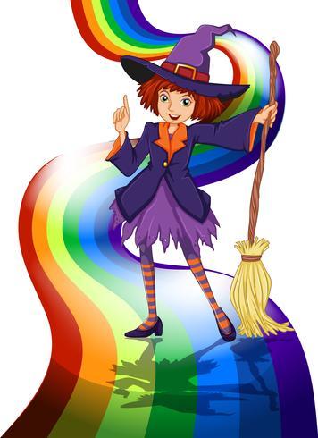 Una bruja en el arcoiris vector