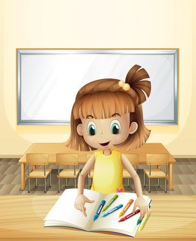 A girl inside the classroom with her books and crayons