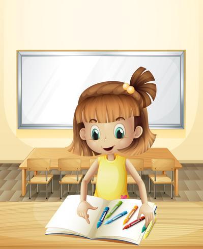 Una niña dentro del aula con sus libros y crayones.