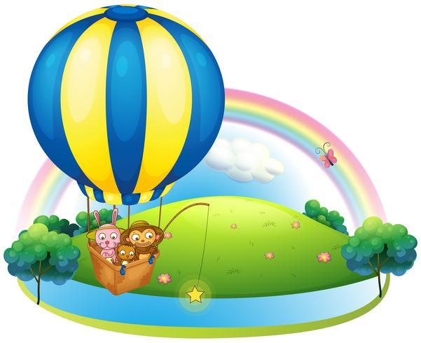 A hot air balloon with three animals