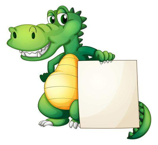 A crocodile holding an empty board