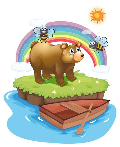 A bear and bees in an island vector