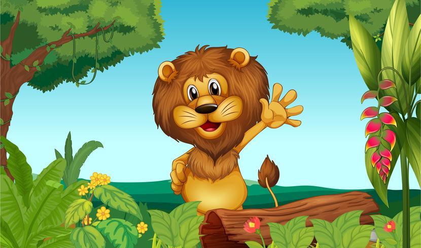 Un león feliz en el bosque.