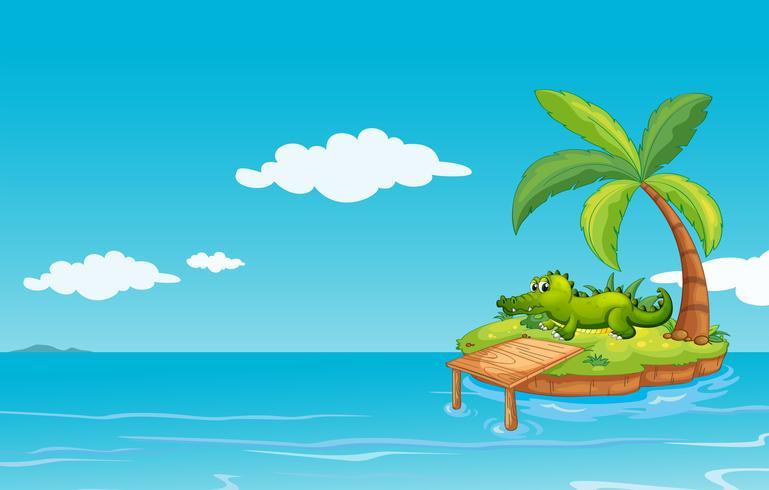Un caimán en la pequeña isla
