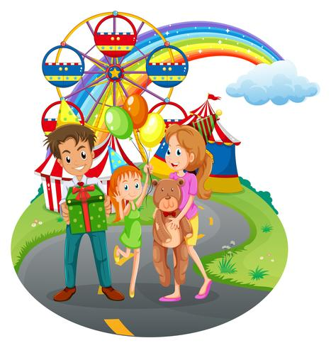 Una famiglia al parco dei divertimenti