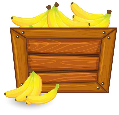 Banana on wooden banner vector