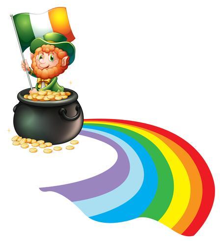 Een man in een pot met gouden munten met vlag