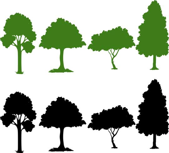 Set of silhouette plant vector