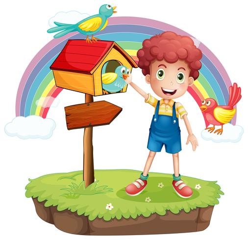 A young boy and the wooden pethouse and signboard vector