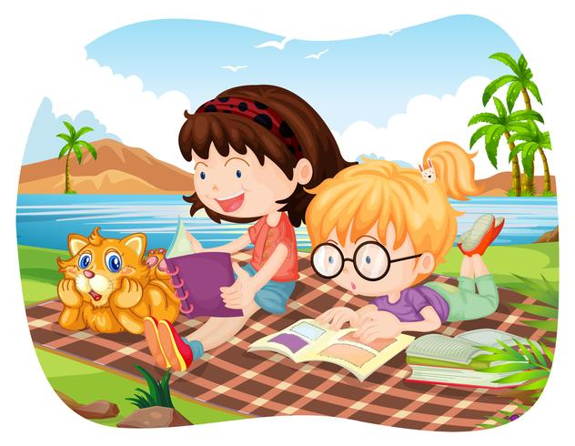 Girls reading books by the lake