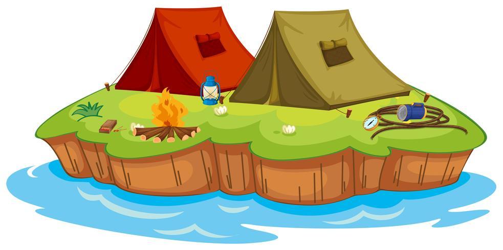 Acampamento base em uma ilha