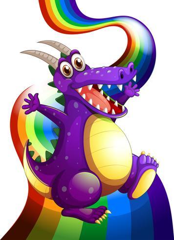 Ein verspielter violetter Drache und ein Regenbogen