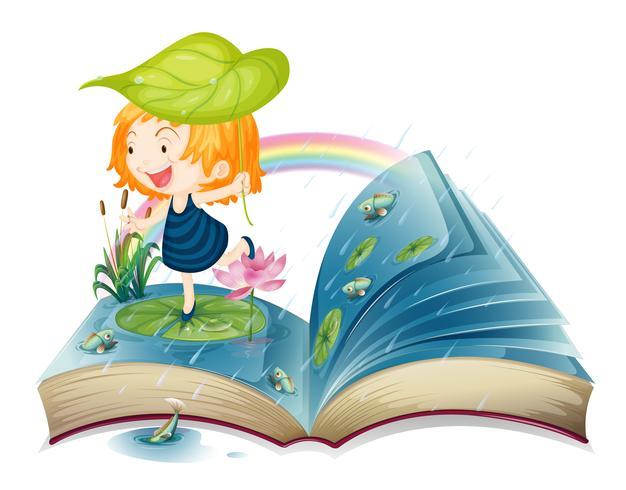 Un libro con la imagen de una niña en el estanque.