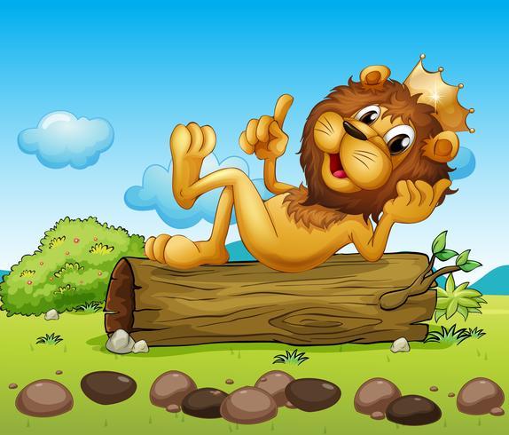 Um, leão, rei, acima, um, tronco