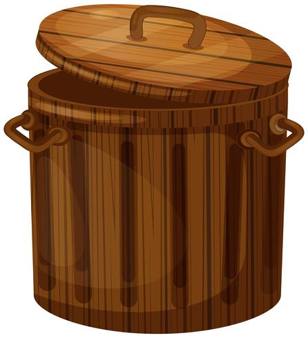 Trä trashcan med lock