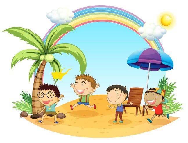 Vier Jungen, die einen Ausflug am Strand haben