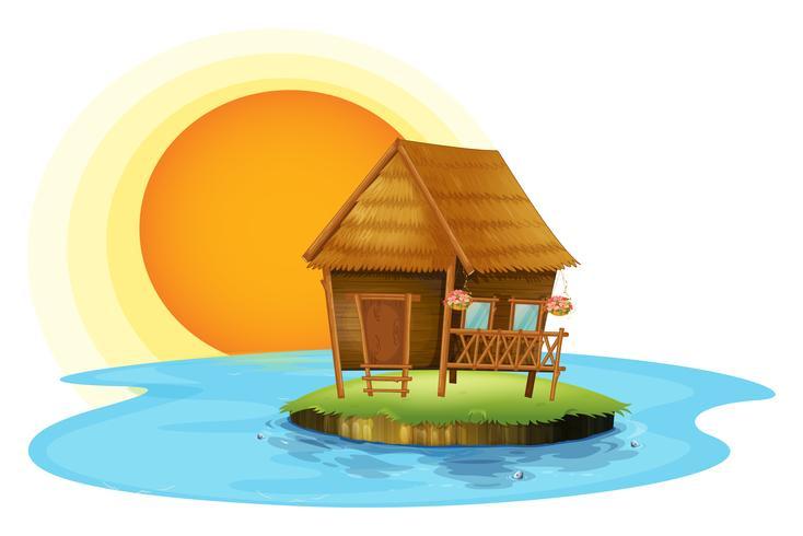 Una isla con una pequeña choza. vector