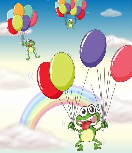 a frog and balloons vector