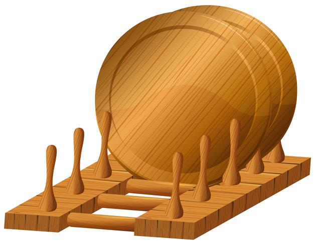 Wooden plates on the rack vector
