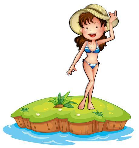 Een eiland met een meisje in bikini