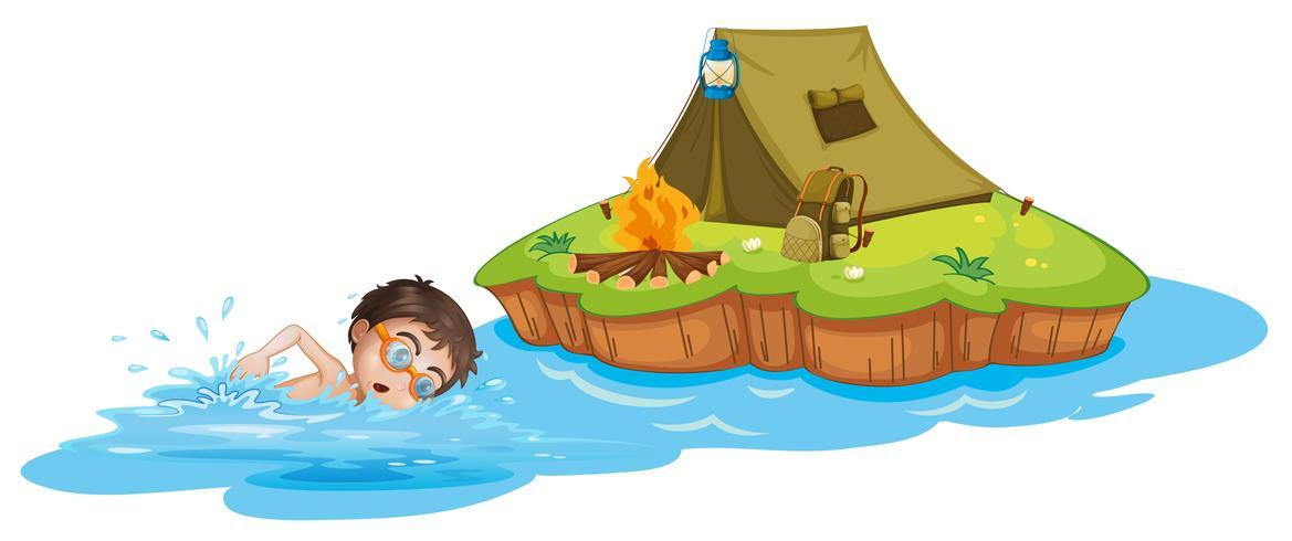 Um menino nadando indo para a barraca de acampamento
