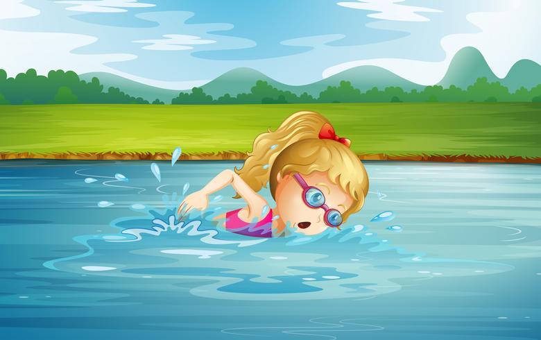Una ragazza che nuota al fiume