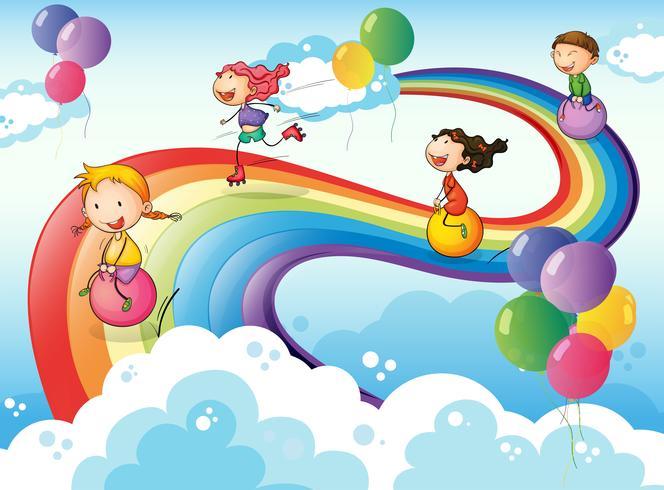 Un gruppo di bambini che giocano al cielo con un arcobaleno